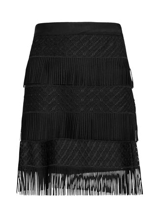 Fringe Mini Skirt, BLACK, hi-res