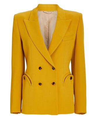 Belle Blonde Charmer Double-Breasted Blazer, YELLOW, hi-res