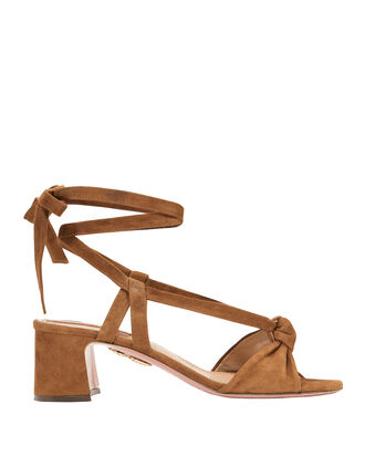 Suede Tie Sandals, BROWN, hi-res