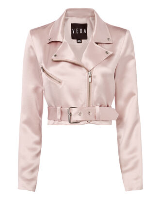 Sax Satin Cropped Moto Jacket, NUDE, hi-res