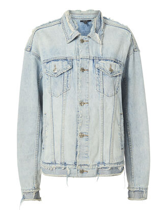 Chillz Oversized Ripped Denim Jacket, LIGHT BLUE DENIM, hi-res