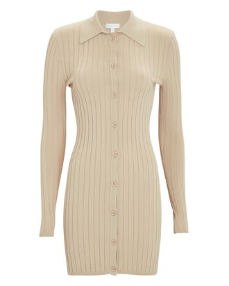 Cathy Rib Knit Polo Mini Dress, BEIGE, hi-res