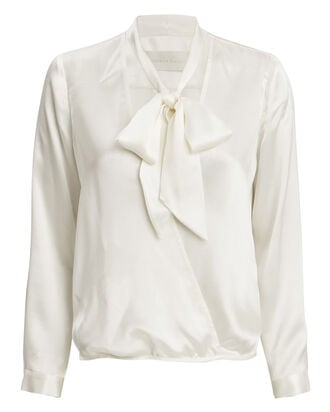 Neck Tie Wrap Blouse, IVORY, hi-res