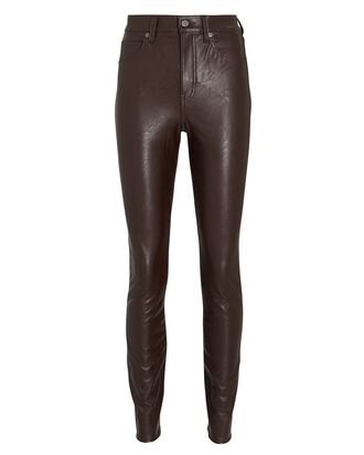 Debbie Vegan Leather Skinny Jeans, BROWN, hi-res