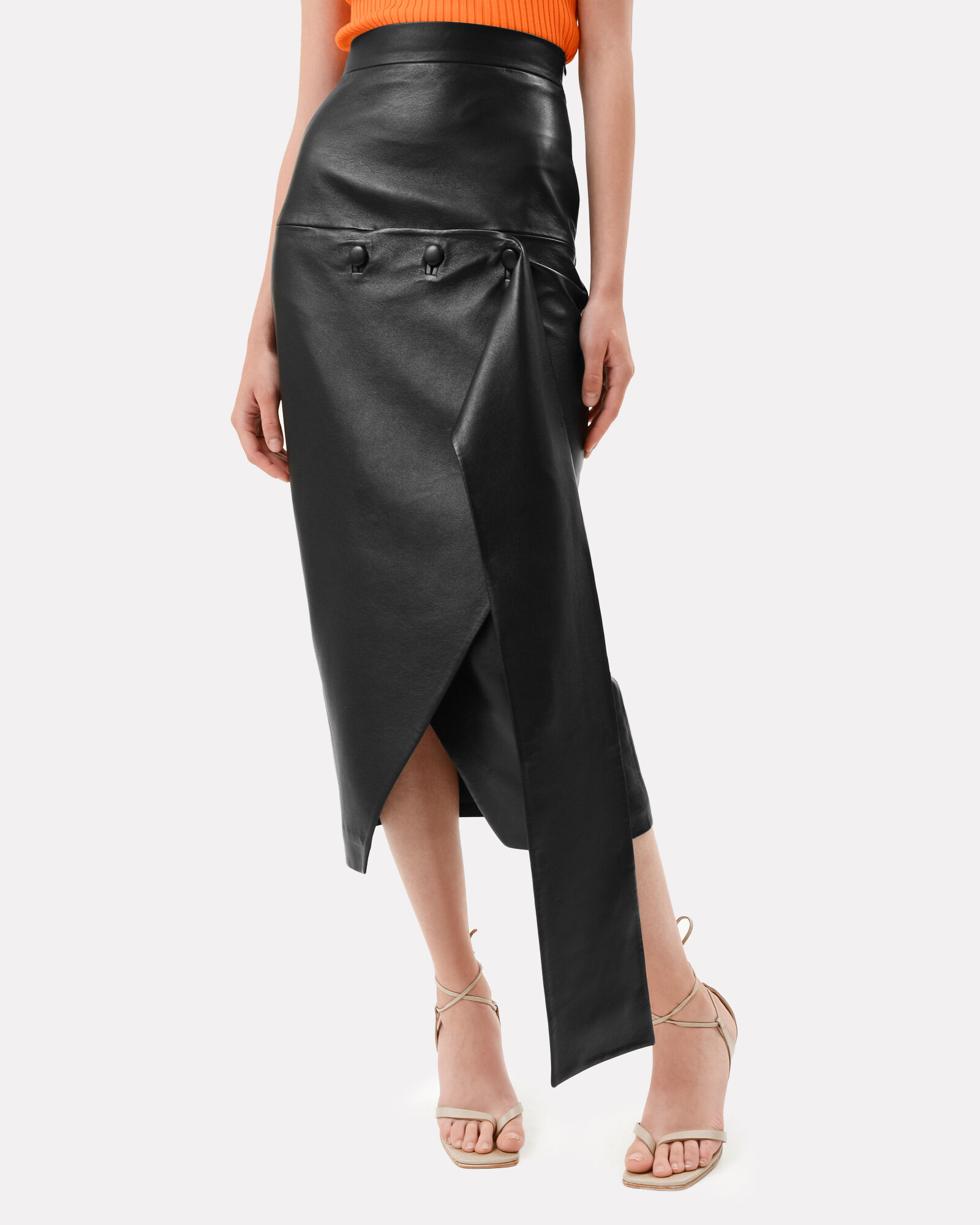 Asymmetrical Faux Leather Midi Skirt, BLACK, hi-res