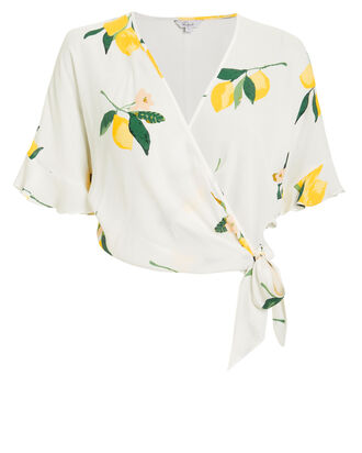 Athena Lemon Wrap Top, WHITE/LEMON PRINT, hi-res