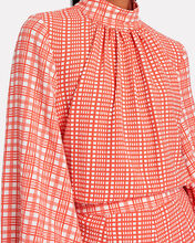 Eddy High Neck Gingham Blouse, PINK, hi-res