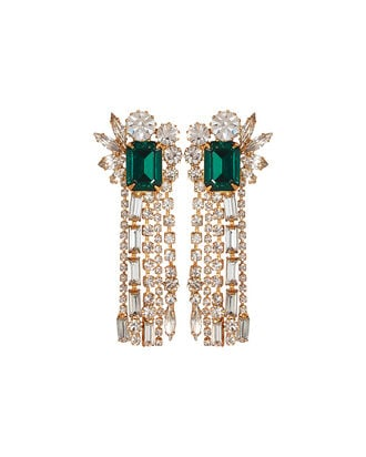 Leigh Crystal Fringe Earrings, EMERALD/CRYSTAL, hi-res