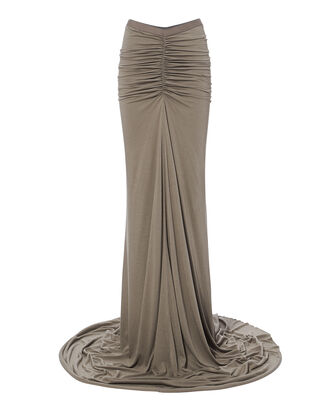 Fishtail Ruched Maxi Skirt, BEIGE, hi-res