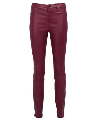 Baroness Mid-Rise Leather Leggings, DARK RED, hi-res