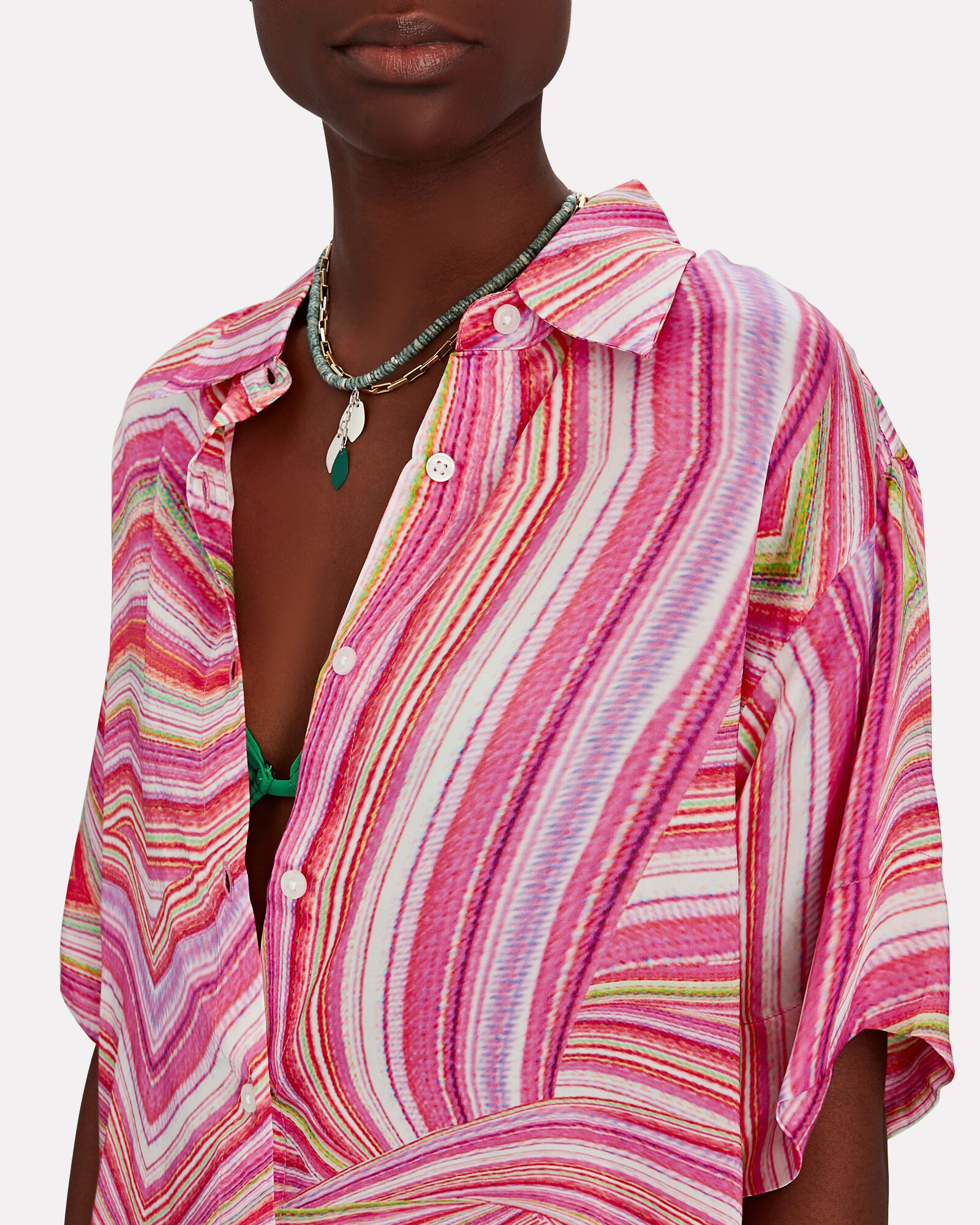 Moonchild Striped Satin Button-Down Shirt, MULTI, hi-res
