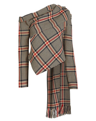 Plaid Asymmetric Scarf Top, BEIGE/RED PLAID, hi-res