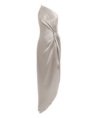 Twist Knot One Shoulder Silver Dress, SILVER, hi-res