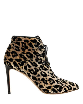 Velvet Leopard Lace Up Booties, BROWN/LEOPARD, hi-res