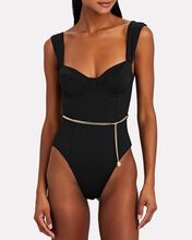 Danielle Belted One-Piece Swimsuit, BLACK, hi-res