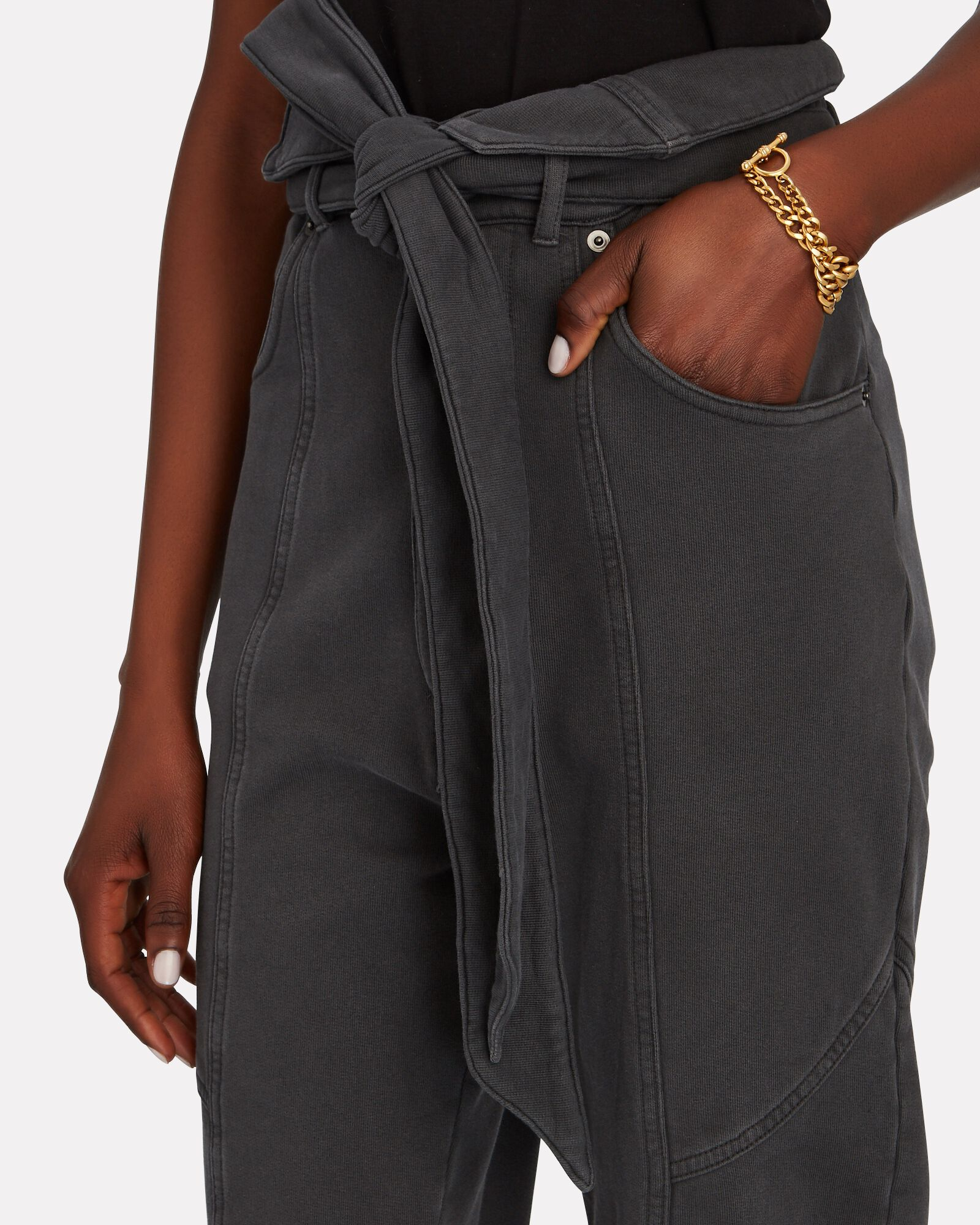 Paperbag Cotton Terry Pants, FADED BLACK, hi-res