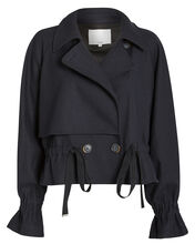 Felted Wool Cropped Trench Coat, NAVY, hi-res