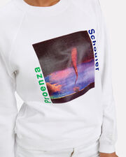 Shrunken Graphic Print Sweatshirt, WHITE, hi-res