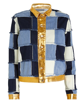 Sly Foil Patchwork Denim Jacket, BLUE/FOIL DENIM, hi-res