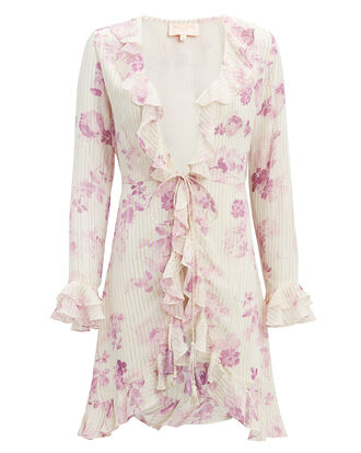 Lilac Floral Mini Cover-Up Dress, PURPLE/FLORAL, hi-res