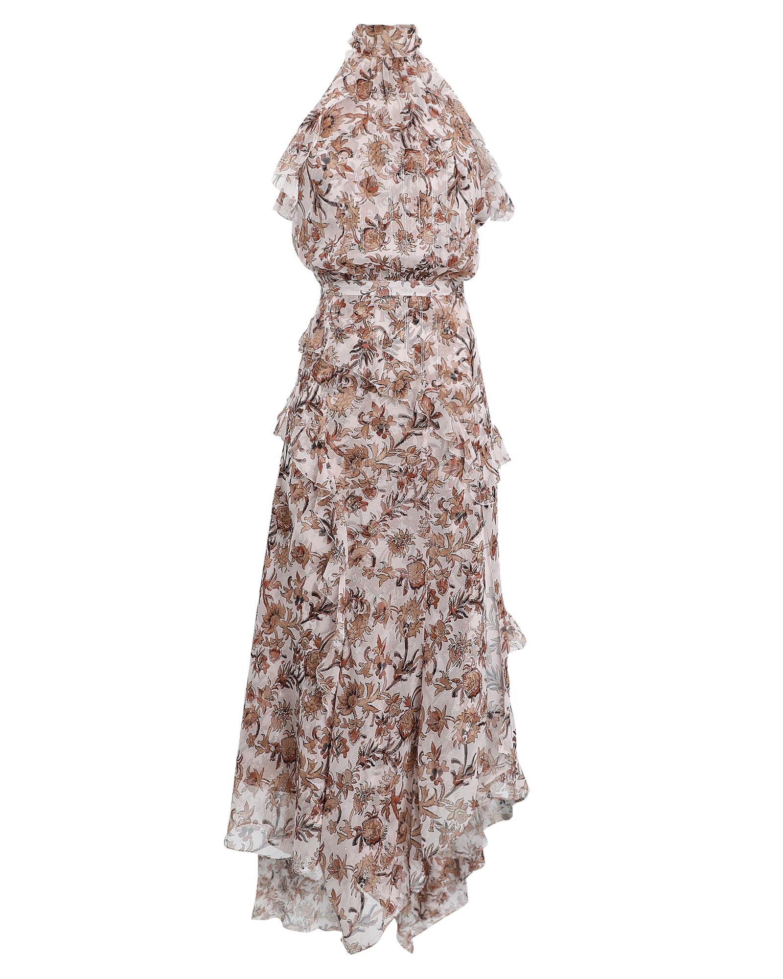 Kailey Ruffled Silk Floral Dress, IVORY/BEIGE, hi-res