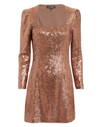 Hilary Sequin Dress, ROSE GOLD, hi-res