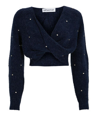 Diamonte Cropped Twist-Front Sweater, NAVY, hi-res