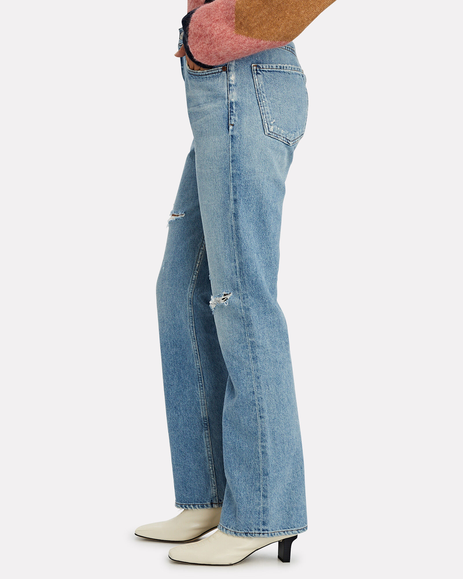 Libby Distressed Bootcut Jeans, SEVENTEEN, hi-res
