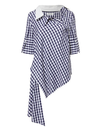 Twist Placket Gingham Shirt, MULTI, hi-res