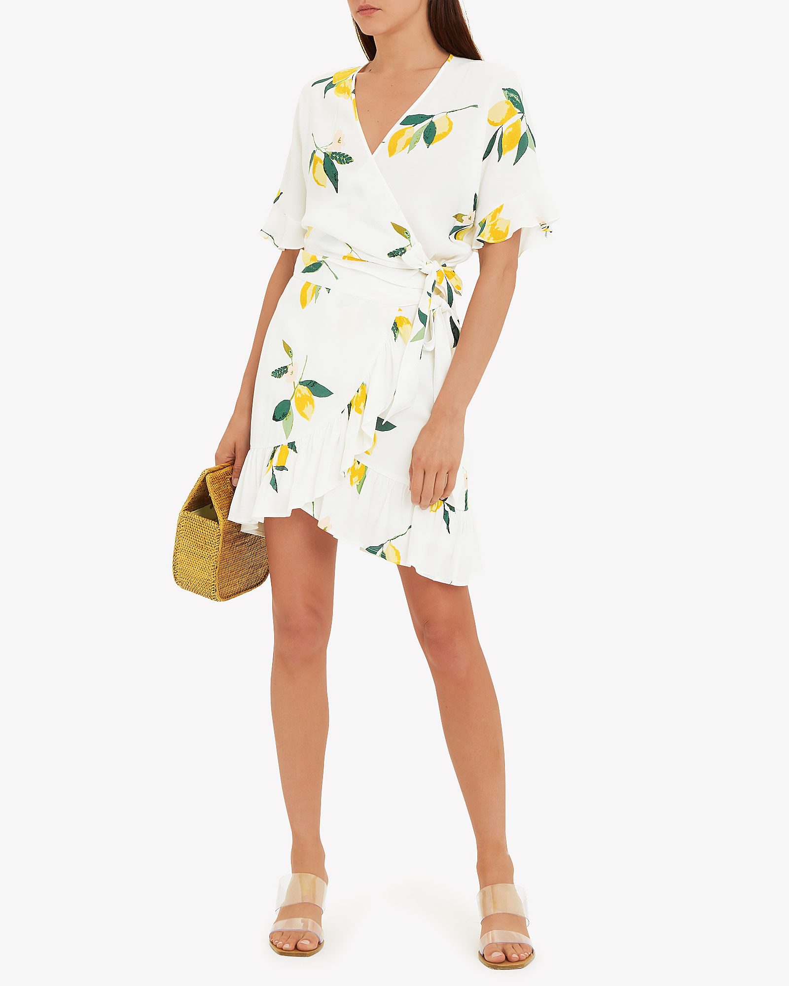 Eienne Lemon Wrap Skirt, WHITE, hi-res