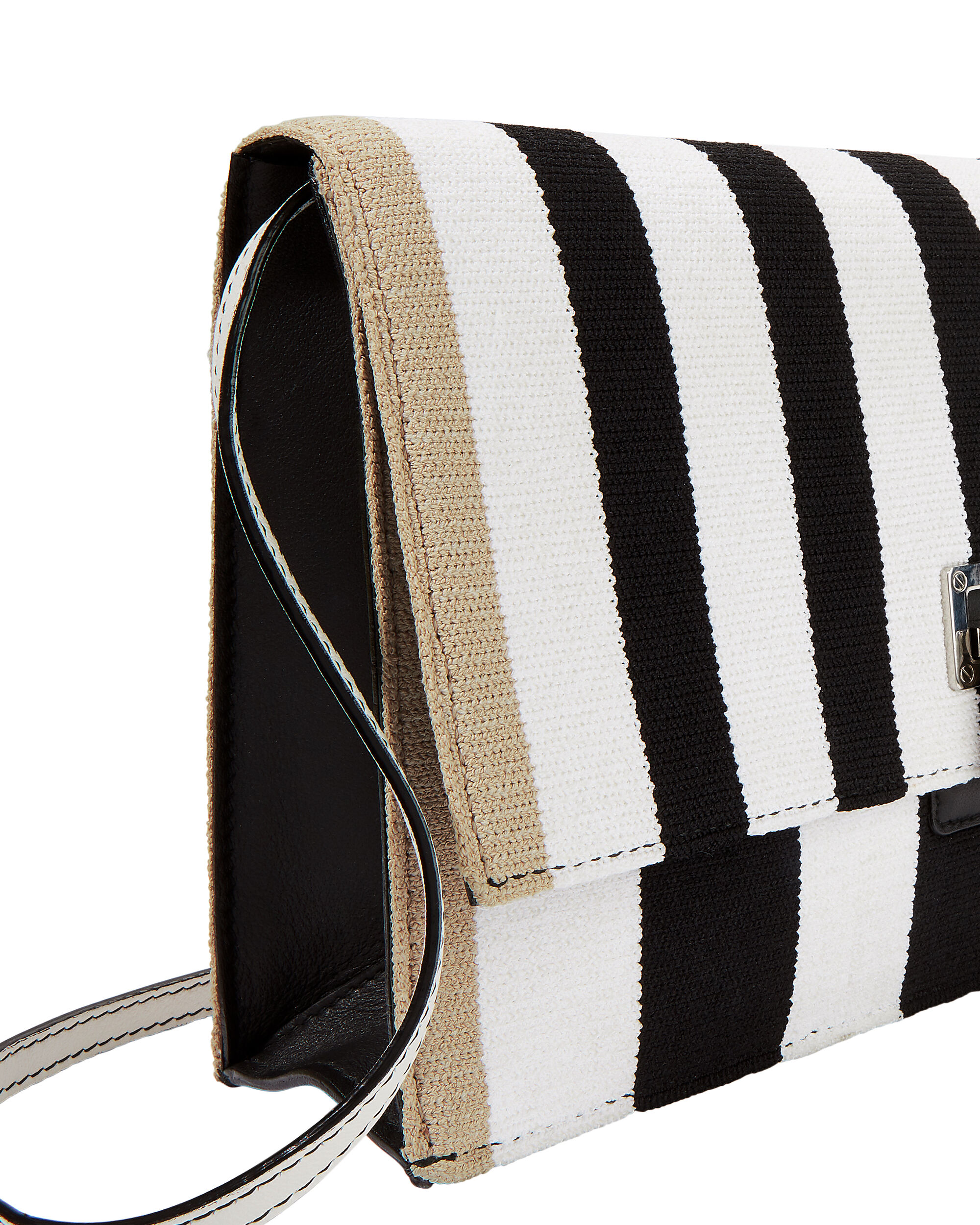 Knit Striped Lunch Bag Clutch, WHITE, hi-res