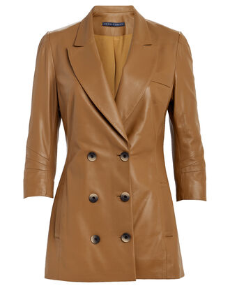 Leather Double Breasted Blazer, BROWN, hi-res