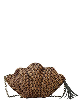 Jane Straw Shell Clutch, BEIGE, hi-res