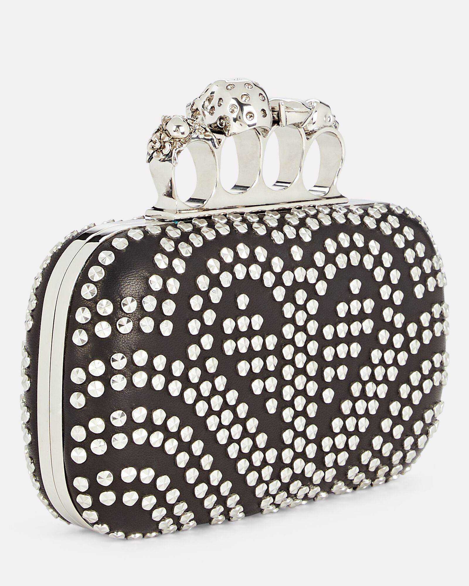 Four Ring Studded Box Clutch, BLACK, hi-res