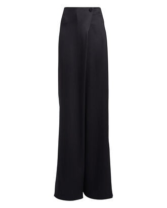 Wrap Waist Silk Trousers, BLACK, hi-res