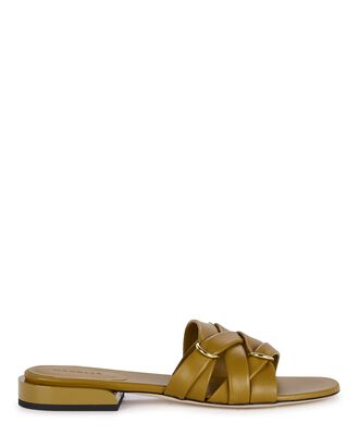 Lara Buckle Woven Leather Slide Sandals, OLIVE BROWN, hi-res