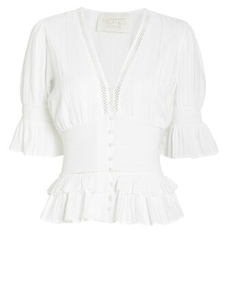 Lindsey Cotton Button Front Blouse, WHITE, hi-res