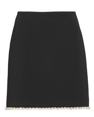 Crystal-Trimmed Cady Mini Skirt, BLACK, hi-res