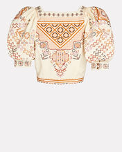 Kalila Embroidered Crop Top, IVORY, hi-res