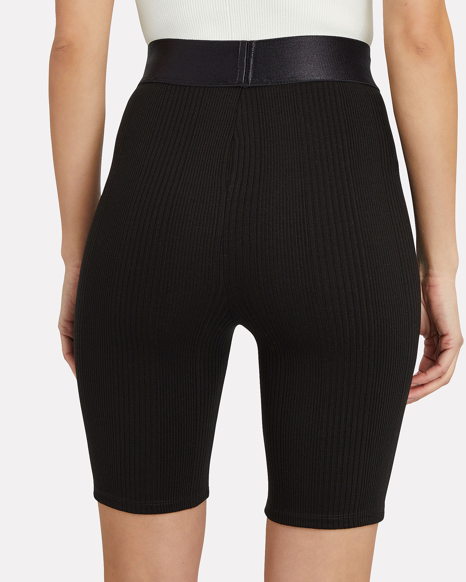 High-Rise Rib Knit Bike Shorts, BLACK, hi-res
