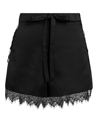 Lace Trim Shorts, BLACK, hi-res