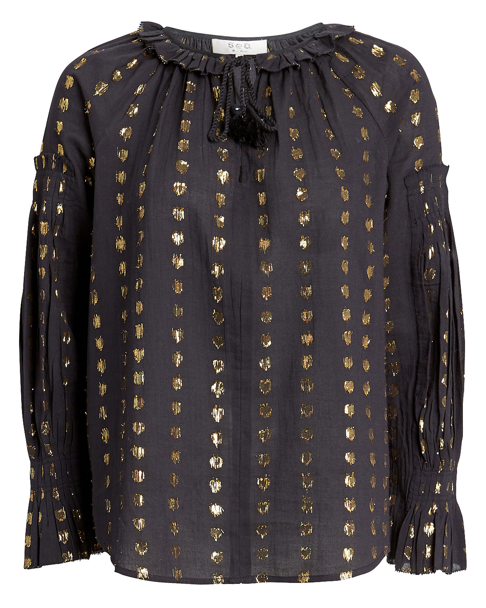 Laura Fil Coupé Blouse, BLACK, hi-res