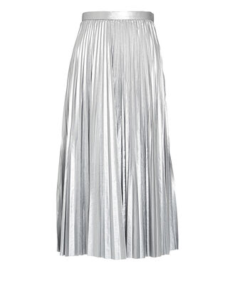 Pleated Metallic Midi Skirt, SILVER, hi-res