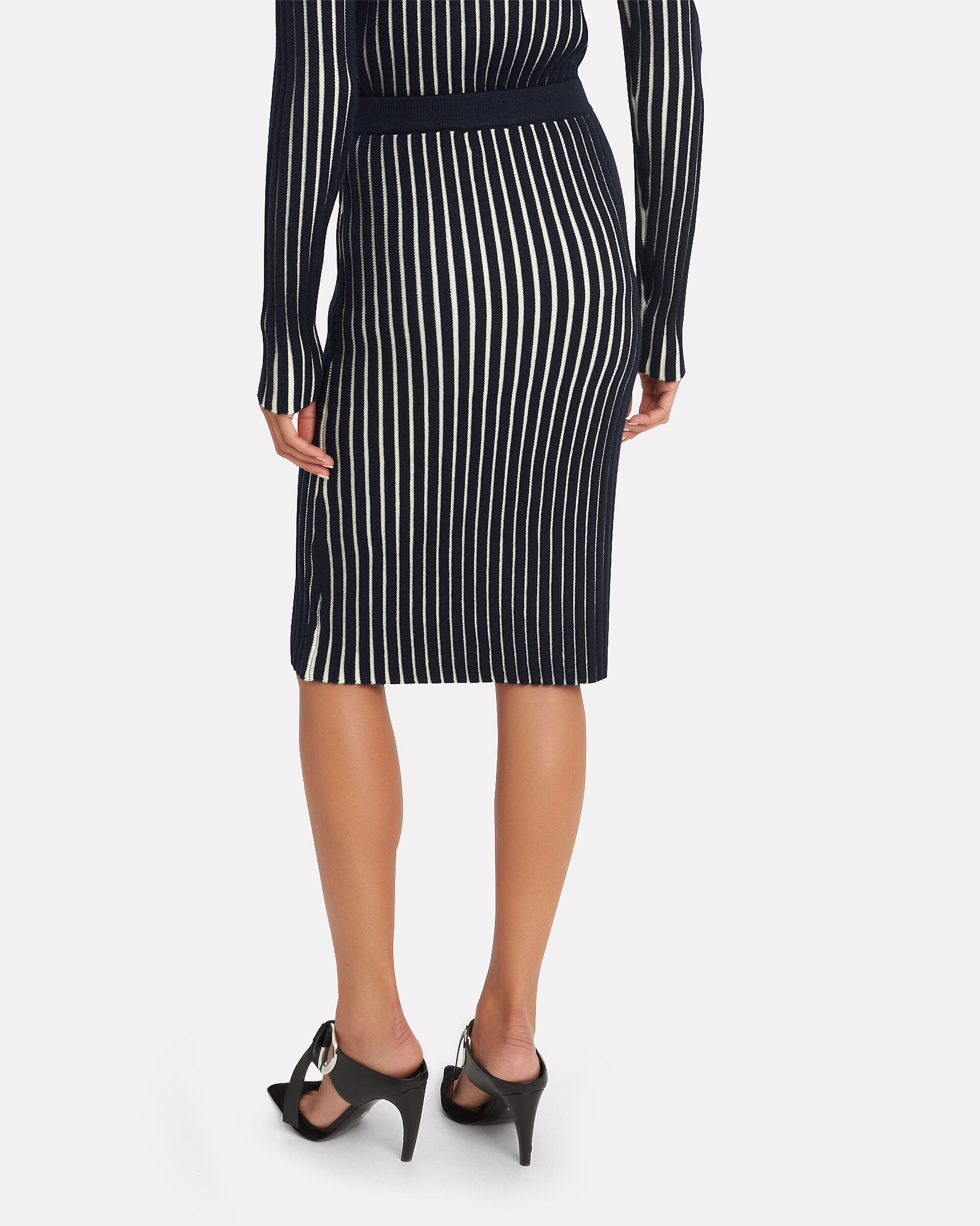 Striped Knit Skirt, NAVY, hi-res