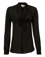 Gisele Tie Black Blouse, BLACK, hi-res