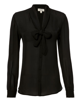 Gisele Tie Blouse, BLACK, hi-res