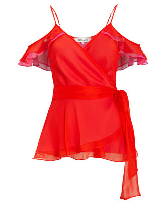 Kemma Flamenco Silk Blouse, PINK/RED, hi-res