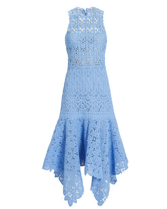 Crochet Lace Dress, BLUE, hi-res