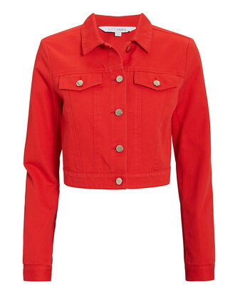 Kennedy Red Denim Jacket, RED, hi-res