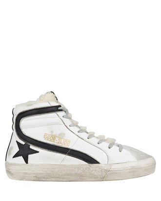 Slide Shearling High-Top Sneakers, WHITE, hi-res